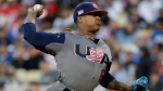 U.S. pitcher Marcus Stroman throws against Puerto Rico during the first inning of the final of the World Baseball Classic, in Los Angeles, Wednesday, March 22, 2017. (AP Photo/Jae C. Hong)