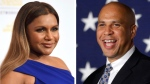 """In this combination photo, Mindy Kaling, left, arrives at the 41st annual Gracie Awards Gala on May 24, 2016, in Beverly Hills, Calif., and Sen. Cory Booker, D-N.J., addresses supporters during an election night victory gathering on Nov. 4, 2014  in Newark, N.J. Booker has invited Kaling to dinner in Newark after the actress' character on """"The Mindy Project,"""" made a joke about Newark. Booker's spokesman says the date hasn't yet been scheduled. (AP Photo/Chris Pizzello, left, and Julio Cortez)"""