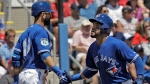 Toronto Blue Jays' Devon Travis, right, shakes hands with on-deck batter Jose Bautista after scoring on an RBI single by Troy Tulowitzki off Boston Red Sox starting pitcher Drew Pomeranz during the second inning of a spring training baseball game Friday, March 24, 2017, in Dunedin, Fla. (AP Photo/Chris O'Meara)