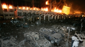 This Sept. 20, 2008 file photo shows destruction caused by a bomb explosion at hotel in Islamabad, Pakistan. A huge explosion ripped through part of the heavily guarded Marriott Hotel in Pakistan's capital Saturday, killing at least 11 people and wounding 25. A federal judge in Maryland has dismissed a lawsuit against Marriott International stemming from a 2008 suicide bomb attack in Pakistan that killed more than 50 people. The suit was brought last June by the family of Albert DiFederico, who was in Pakistan as a civilian contractor. It alleged that Marriott was negligent in defending the Islamabad hotel against terrorist attacks. (AP Photo/B.K.Bangash, File )