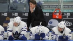 Toronto Maple Leafs head coach Mike Babcock looks on during the third period of an NHL hockey game against the Buffalo Sabres, Saturday, March 25, 2017, in Buffalo, N.Y. (AP Photo/Jeffrey T. Barnes)