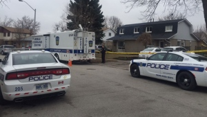 Police investigate a suspicious death on Tindale Road in Brampton on March 26, 2017. (Courtney Heels /CP24)