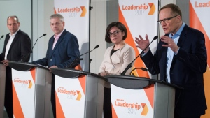 NDP leadership candidates, from left, Guy Caron, Charlie Angus, Niki Ashton and Peter Julian participate in a debate in Montreal, Sunday, March 26, 2017. THE CANADIAN PRESS/Graham Hughes