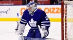 Toronto Maple Leafs goalie Frederik Anderson returned to practice on Monday following a mysterious exit from Saturday's loss in Buffalo, but his time on the ice was short as he left the workout after about 20 minutes. (Frank Gunn/The Canadian Press)