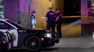 Police are searching for a suspect after a male was stabbed in Hamilton early Tuesday morning. (Andrew Collins/ CP24)