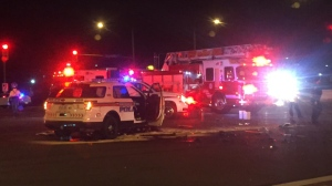Police are investigating after a York Regional Police cruiser struck a civilian vehicle in Vaughan Tuesday night. (Mike Nguyen/ CP24)
