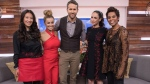 """Actor Ryan Reynolds (centre) appears on the television show """"The Social"""" with co-hosts (left to right) Lainey Lui, Melissa Grelo, Cynthia Loyst and Marci Ien. Former """"Canada AM"""" host Ien has found a new home on the CTV talk show """"The Social."""" THE CANADIAN PRESS/HO-Bell Media"""