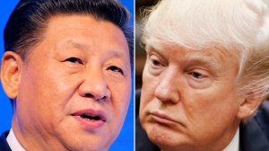 FILE - This combination of file photos shows Chinese President Xi Jinping, left, on Jan. 17, 2017, in Davos, Switzerland, and U.S. President Donald Trump on March 28, 2017, in Washington. China said Thursday, March 30, 2017, Xi and Trump will meet at the latter's Florida resort on April 6-7. It will be the first in-person meeting between the two. (AP Photo/Files)