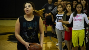 A group of 15 girls from God's Lake Narrows First Nation School in northern Manitoba are on a trip of a lifetime this week, travelling over 1,600 kilometres to Toronto to compete in a local basketball tournament and practice with a Toronto Raptor. (Amara McLaughlin/CP24)