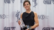 Sarah McLachlan poses with a Juno award after being named as the 2017 inductee into the Canadian Music Hall of Fame at the Juno awards show Sunday April 2, 2017 in Ottawa. THE CANADIAN PRESS/Justin Tang