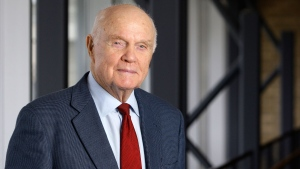 In this Jan. 25, 2012, file photo, former astronaut and Sen. John Glenn poses for a photo during an interview at his office in Columbus, Ohio. Glenn died on Dec. 8, 2016 at age 95. (AP Photo/Jay LaPrete, File)