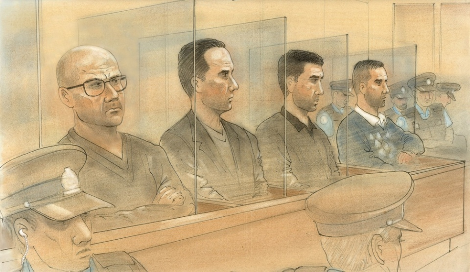The three accused -- Nicola Nero, left, Rabih Alkhalil, centre left, and Martino Caputo, right -- hired a hitman to kill John Raposo and steal his cocaine in 2012, crown claimed. (John Mantha)