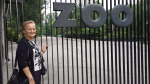 Stefania Sitbon stands in front of the Warsaw Zoo in Poland. Sitbon was one of hundreds of who found safe refuge in the zoo during the German occupation of Warsaw. (Sarit Shira/The Canadian Press)