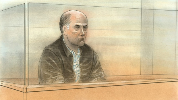 Joseph Galaska, 58, is pictured in a court sketch from Brampton on April 7, 2017. (John Mantha)