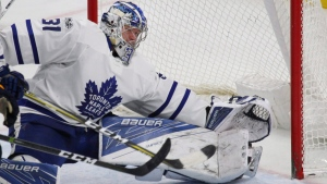 Toronto Maple Leafs goalie Frederik Andersen (31) makes a save during the third period of an NHL hockey game against the Buffalo Sabres, Monday, April 3, 2017, in Buffalo, N.Y. (Jeffrey T. Barnes/AP)