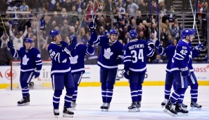 Toronto Maple Leafs salute the fans following third period NHL hockey action against the Pittsburgh Penguins, in Toronto on Saturday, April 8, 2017. A year after Canadian teams were shut out of the NHL playoffs, five are poised to battle for the Stanley Cup in 2017. THE CANADIAN PRESS/Frank Gunn