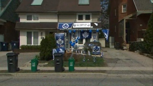 Homeowners in north Toronto decided everyone on the street should know how excited they are to see their team make the playoffs. (CP24)