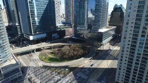 The off-ramp from the eastbound Gardiner Expressway to York, Bay and Yonge streets closed at 5 a.m. on Monday. (CTV News)