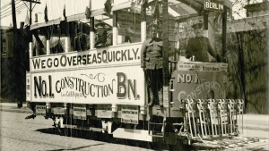Soldiers pose on a recruiting streetcar in Toronto in this 1917 handout photo. THE CANADIAN PRESS/HO - Canadian War Museum, George Metcalf Archival Collection