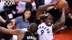 Toronto Raptors forward Serge Ibaka (9) grabs a rebound in front of Milwaukee Bucks centre Greg Monroe (15) during second half NBA playoff basketball action, in Toronto on Saturday, April 15, 2017. THE CANADIAN PRESS/Nathan Denette