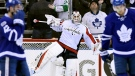 Washington Capitals goalie Braden Holtby (70) celebrates their win following third period NHL hockey round one playoff action against the Toronto Maple Leafs, in Toronto on Wednesday, April 19, 2017. THE CANADIAN PRESS/Frank Gunn