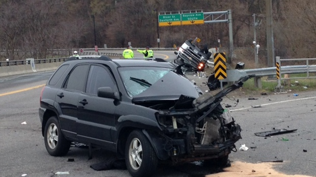 The Don Valley Parkway ramps to the Bayview/ Bloor ramp are closed due to a collision. (Cam Wolley/ CP24)