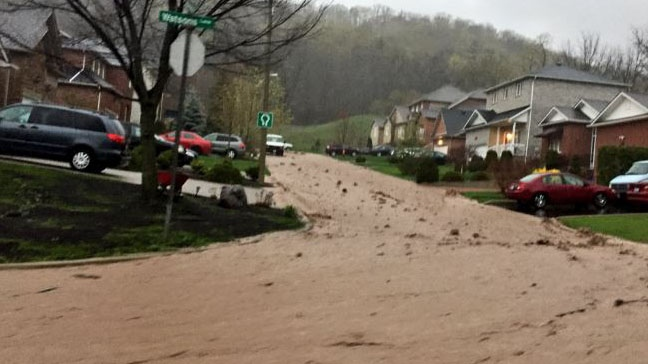 Dundas, Ont. has been hit by flash flooding along the Niagara escarpment due to heavy rains. (Rebuild Hamilton/Twitter)