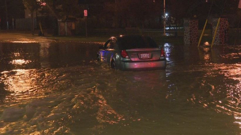 The flooding trapped a driver in his car along Cootes Drive.  Hamilton fire rescued the man from his vehicle around 7:30 p.m. (David Ritchie)