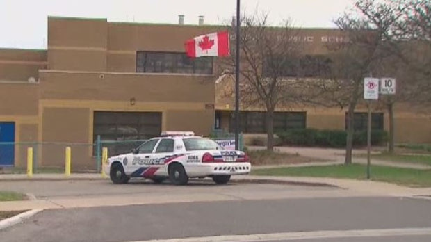 The flag is half-mast at Morrish Public School for a kindergarten student who died after being struck by an SUV in front of the school. (CP24)
