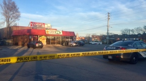 Police are searching for a suspect after a shooting in Dorset Park on Saturday. (Cristina Tenaglia/ CP24)