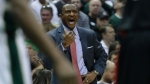 Toronto Raptors head coach Dwane Casey yells during the first half of Game 4 of an NBA first-round playoff series basketball game against the Milwaukee Bucks Saturday, April 22, 2017, in Milwaukee. (AP Photo/Morry Gash)