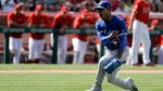 Toronto Blue Jays starting pitcher Marcus Stroman celebrates their 6-2 win against the Los Angeles Angels during a baseball game in Anaheim, Calif., Sunday, April 23, 2017. (AP Photo/Chris Carlson)
