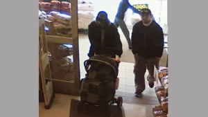 Edmonton Police Services have released footage of two persons of interest sought in connection with the discovery of a deceased toddler who was found Friday afternoon on the grounds of a church. Two people are seen in a still image made from video surveillance footage in an undated handout photo. Investigators are urging anyone who may have seen anything suspicious in the area to contact police. THE CANADIAN PRESS/HO-Edmonton Police Service