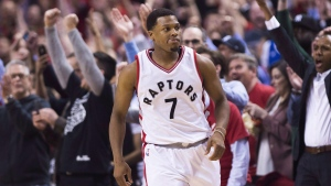 The crowd reacts after Toronto Raptors guard Kyle Lowry (7) sunk a basket in the last seconds of second half NBA playoff basketball action against the Milwaukee Bucks, in Toronto on April 18, 2017. THE CANADIAN PRESS/Nathan Denette