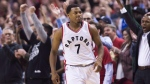 The crowd reacts after Toronto Raptors guard Kyle Lowry (7) sunk a basket in the last seconds of second half NBA playoff basketball action against the Milwaukee Bucks, in Toronto on April 18, 2017. (Nathan Denette/THE CANADIAN PRESS)