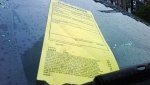 A parking ticket is affixed to the windshield of a vehicle on Wednesday June 9, 2010. (CP24/Mathew Reid)