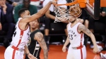 Toronto Raptors guard Norman Powell (24) dunks the ball against the Milwaukee Bucks during the second half of game five of an NBA first-round playoff series. (Nathan Denette/The Canadian Press)
