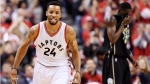 Toronto Raptors guard Norman Powell (24) celebrates a three-pointer against the Milwaukee Bucks during the second half of game five of an NBA first-round playoff series. (Frank Gunn/The Canadian Press)
