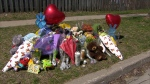 Dozens gather to remember a six-year-old kindergarten student who was fatally struck on his way home from school in Scarborough on Friday. (CP24)