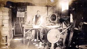 A man stands in an egg carton factory, which Joseph Coyle rented from the Brown Print Shop, in this 1924 handout photo in Los Angeles. THE CANADIAN PRESS/HO-Bulkley Valley Museum