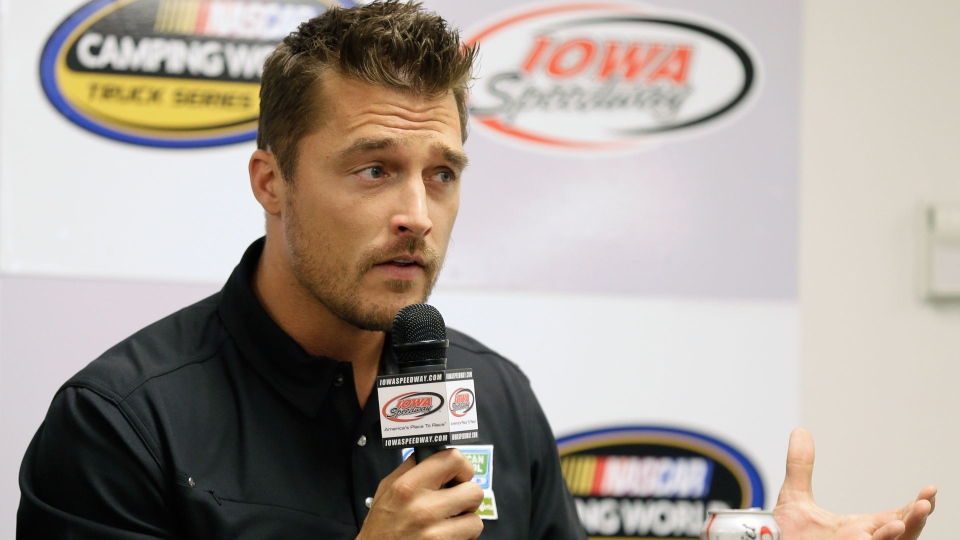 "In this June 19, 2015, file photo, Iowa farmer Chris Soules, a former star of ABC's ""The Bachelor,"" speaks during a news conference before a NASCAR event in Newton, Iowa. (AP Photo/Charlie Neibergall, File)"