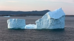 A large iceberg is shown near Fermeuse, N.L., on Monday, April 24, 2017. The large iceberg that ran aground near Ferryland, N.L., is slowly melting and drifting south. THE CANADIAN PRESS/Paul Daly