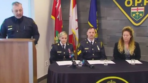 Ontario Provincial Police provide an update on an investigation into a human trafficking sting in Orillia. (CP24)