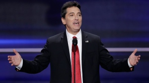 In this July 18, 2016, file photo, actor Scott Baio speaks during the opening day of the Republican National Convention in Cleveland.  (AP Photo/J. Scott Applewhite, File)