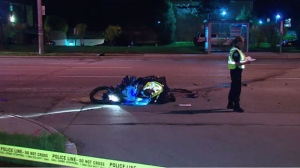 Toronto paramedics say one patient was taken to a local trauma centre in serious condition following a collision between a motorcycle and a car in North York. (CP24)