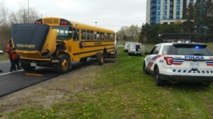 Police say the rear wheels of a school bus carrying dozens of young children came very close to flying off on the Don Valley Parkway on Wednesday.