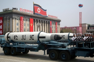 In this Saturday, April 15, 2017, file photo, a submarine-launched ballistic missile is displayed in Kim Il Sung Square during a military parade in Pyongyang, North Korea, to celebrate the 105th birth anniversary of Kim Il Sung, the country's late founder and grandfather of current ruler Kim Jong Un. (AP Photo/Wong Maye-E, File)