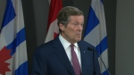 Mayor Tory speaks with reporters at city hall on Friday, April 28, 2017.