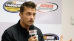 """In this June 19, 2015, file photo, Iowa farmer Chris Soules, a former star of ABC's """"The Bachelor,"""" speaks during a news conference before a NASCAR event in Newton, Iowa. Soules was booked early Tuesday, April 25, 2017, after his arrest on a charge of leaving the scene of a fatal accident near Arlington, Iowa. Police said he fled the scene of a fatal traffic accident. (AP Photo/Charlie Neibergall, File)"""