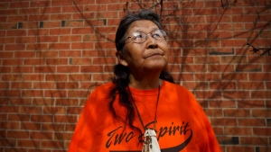 Ma-Nee Chacaby, an Ojibwa-Cree elder from Thunder Bay, Ont., poses for a portrait in Toronto on Friday, April 28, 2017. Chacaby says coming out nearly 30 years ago was like unzipping her skin so she could reveal her true self. Prior to 1988, Chacaby said she was bullied and injured for identifying as two-spirit -- a term she uses to describe carrying both a female and male in her body at the same time. THE CANADIAN PRESS/Cole Burston